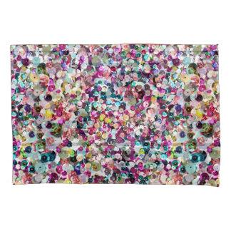 La lentejuela del rosa de arco iris chispea por funda de cojín