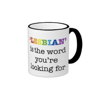 """La """"LESBIANA"""" es la palabra el su buscar Taza De Dos Colores"""