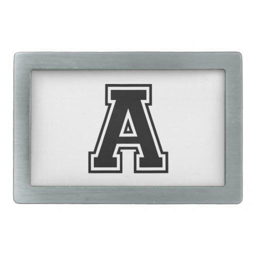 La letra A, alfabeto colegial Hebilla Cinturón Rectangular