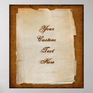 La letra antigua escribe su propio mensaje póster