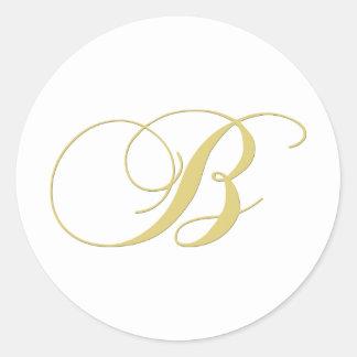 La letra B del monograma de oro escoge Pegatina