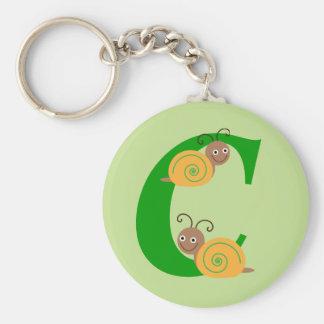 La letra C brian del monograma el caracol embroma Llavero Redondo Tipo Pin
