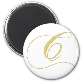 La letra C del monograma de oro escoge Imán Redondo 5 Cm
