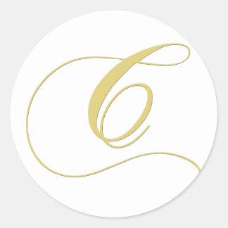 La letra C del monograma de oro escoge Pegatina Redonda