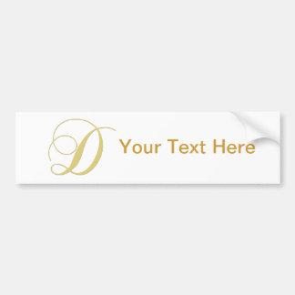 La letra D del monograma de oro escoge Pegatina Para Auto