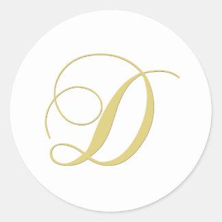 La letra D del monograma de oro escoge Pegatina Redonda