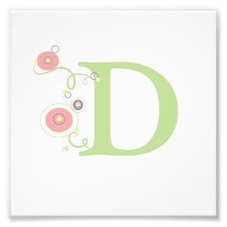 La letra D - verde y círculos - impresión moderna Fotografia