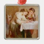 La letra de amor, 1871 adorno navideño cuadrado de metal