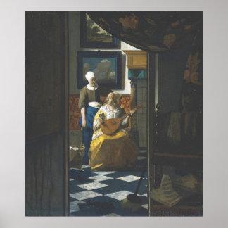 La letra de amor por Vermeer Posters