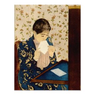 La letra de Mary Cassatt (circa 1891) Invitación 10,8 X 13,9 Cm