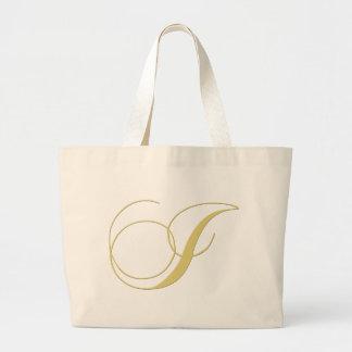 La letra i del monograma de oro escoge bolsa tela grande