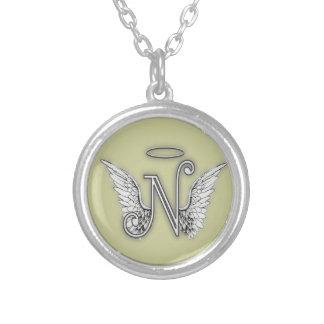 La letra inicial de Alphabetz N del ángel se va Colgante Personalizado