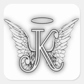 La letra inicial del alfabeto K del ángel se va Pegatina Cuadrada