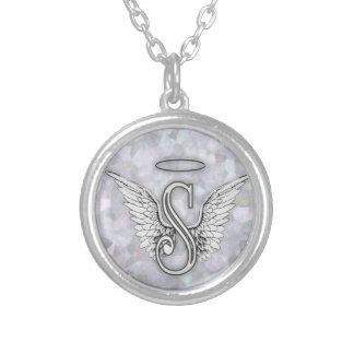 La letra inicial del alfabeto S del ángel se va Colgante Redondo