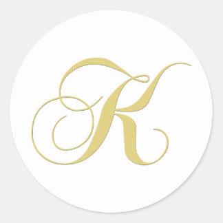La letra K del monograma de oro escoge Pegatina Redonda