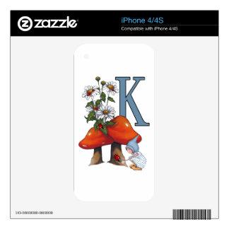 La letra K, INICIAL, Toadstools, gnomo, mariquita Skins Para eliPhone 4S