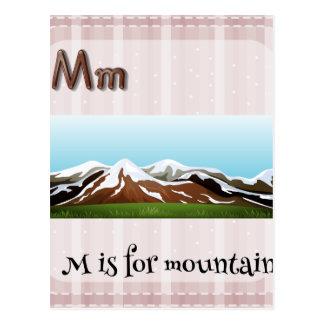 La letra M de Flashcard está para la montaña Tarjetas Postales