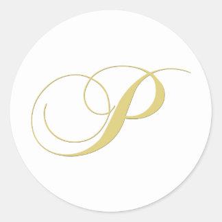 La letra P del monograma de oro escoge Pegatina Redonda