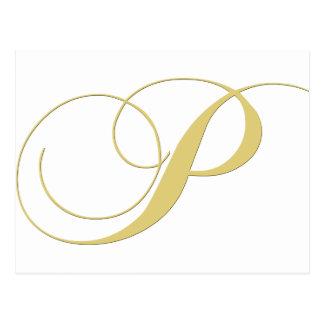 La letra P del monograma de oro escoge Postales