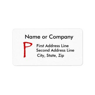 La letra P en fuente roja del papiro Etiquetas De Dirección