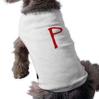 La letra P en fuente roja del papiro Ropa De Perros