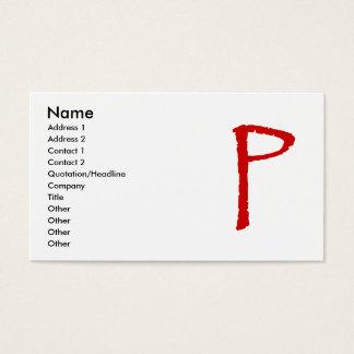 La letra P en fuente roja del papiro Tarjetas De Visita