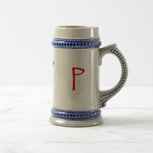 La letra P en fuente roja del papiro Taza De Café