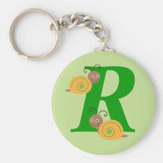 La letra R brian del monograma el caracol embroma Llavero Redondo Tipo Pin