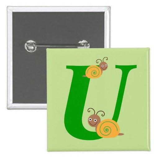 La letra U brian del monograma el caracol embroma  Pin