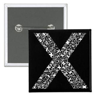 La letra X del alfabeto Pin Cuadrada 5 Cm
