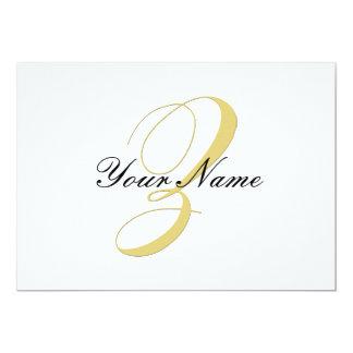 La letra Z del monograma de oro escoge Invitacion Personal