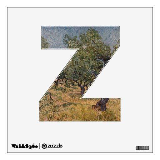 La letra Z - etiqueta de la pared del alfabeto - t