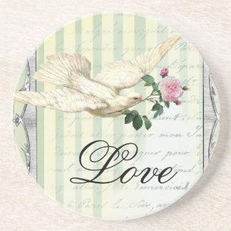 La Lettre D'amour Dove Beverage Coasters