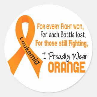 La leucemia I lleva orgulloso el naranja Pegatina Redonda