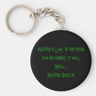 La ley de Murphy:  Si es anythingcan sale mal,… Llavero Redondo Tipo Pin