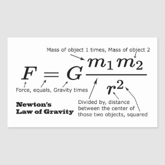 La ley de Newton de la gravitación universal Pegatina Rectangular