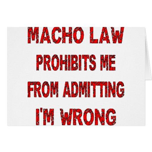 La ley machista me prohíbe que admite de mí es inc tarjeta de felicitación