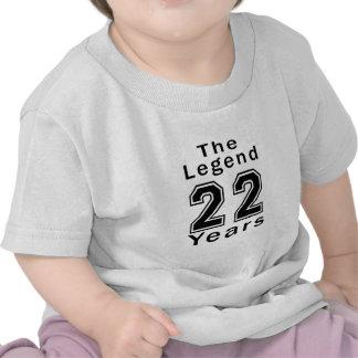 La leyenda 22 años de regalos de cumpleaños camiseta