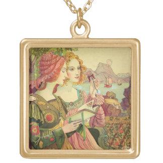 "La leyenda de oro, 1897, de ""L'Estampe Moderne"", Colgante Cuadrado"