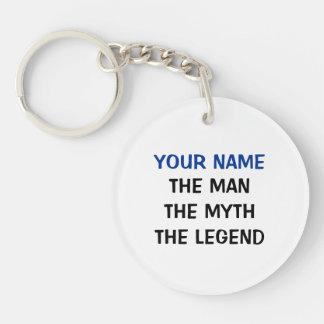 La leyenda el | del mito del hombre personalizó el llavero redondo acrílico a una cara
