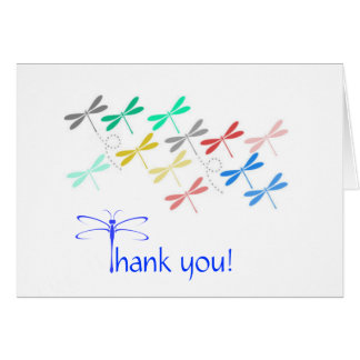 La libélula le agradece las notas tarjeta pequeña