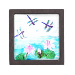 La libélula, lirio florece la pintura de la charca caja de regalo de calidad