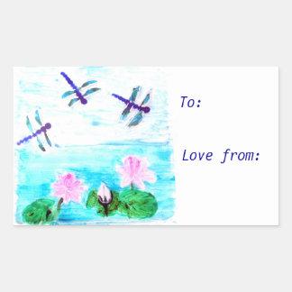 La libélula, lirio florece la pintura de la charca rectangular pegatina