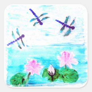 La libélula, lirio florece la pintura de la charca calcomania cuadradas personalizadas