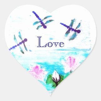 La libélula, lirio florece la pintura de la charca calcomania de corazon personalizadas