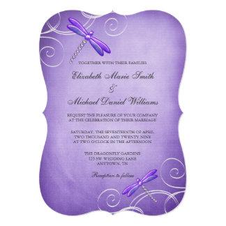 "La libélula púrpura remolina boda invitación 5"" x 7"""