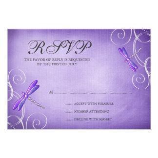 La libélula púrpura remolina tarjeta de la respues comunicado personal