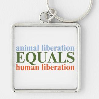La liberación animal iguala la liberación humana llavero cuadrado plateado