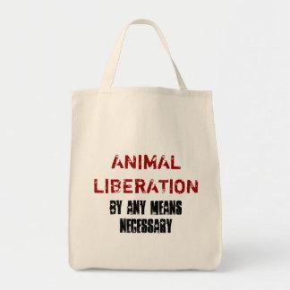 LA LIBERACIÓN ANIMAL POR CUALESQUIERA SIGNIFICA EL BOLSA TELA PARA LA COMPRA