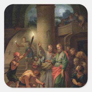 La liberación de San Pablo y de St Barnabas Pegatinas Cuadradases Personalizadas
